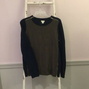 J. Crew Colorblock Sweater w/ Gold Zippers